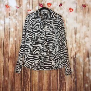 Metrostyle Plus Size Zebra Print Button Down Top